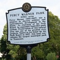 Percy Warner Park sign at the entrance.